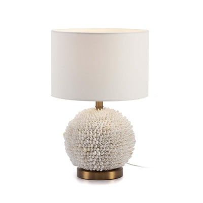 Design KNB Table Light with White Shells and Golden Metal without a Lampshade