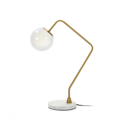 Design KNB Table Light with with White Marble and Glass and White/Golden Metal