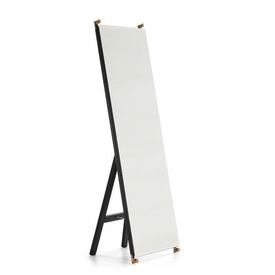 Design KNB Tall Glass Mirror with a Golden Metal Stand and Black MDF