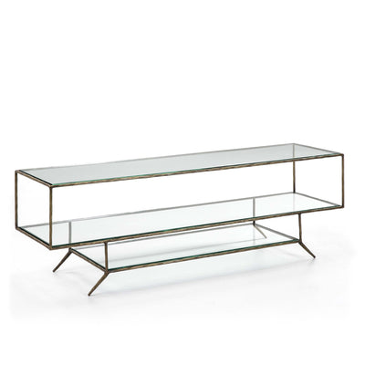 Design KNB TV Furniture in Glass with Golden Metal