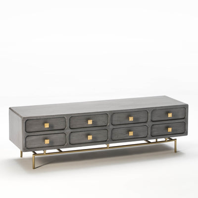 Design KNB TV Furniture in Grey Wood with Golden Metal