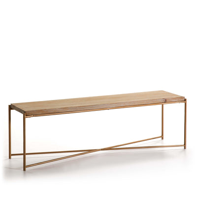 Design KNB TV Furniture in White Washed Wood with Golden Metal Legs