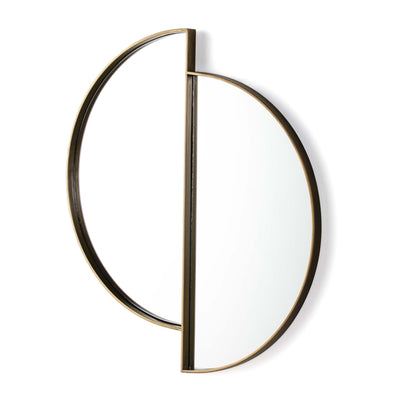 Design KNB Two Half Moon Shaped Glass Mirror with a Golden Metal Frame