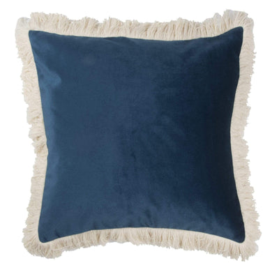 Design KNB Velvet Cushions in peacock blue and ecru