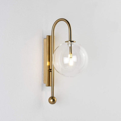 Design KNB Wall Lamp in Golden Metal and a Clear Glass Globe