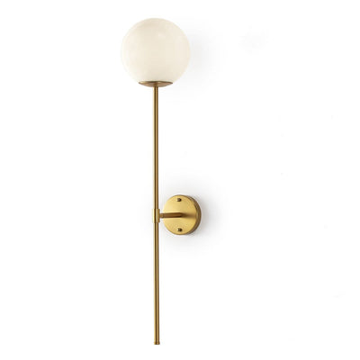 Design KNB Wall Lamp in Golden Metal with a White Glass Globe