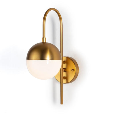 Design KNB Wall Lamp in In Golden Metal and White Glass