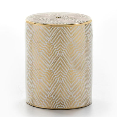 Design KNB White and Golden Ceramic Side Table