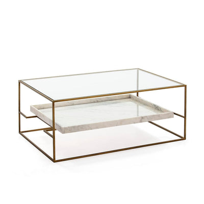 Design KNB White Marble and Golden Metal with a Glass top Coffee Table