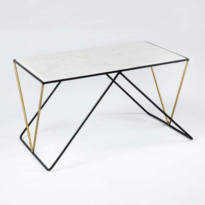 Design KNB White Marble Coffee Table with Black and Golden Metal Legs