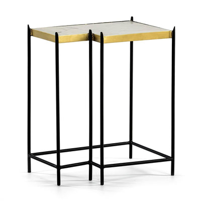 Design KNB White Marble Side Table with a Black Metal Frame