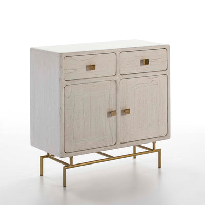 Design KNB White Sideboard in Wood with Golden Metal Legs