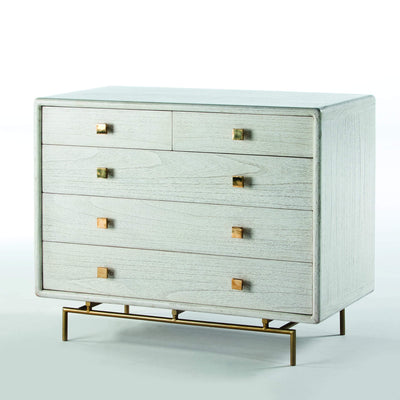 Design KNB White Wash Chest of Drawers with Golden Metal Legs and Metal Knobs