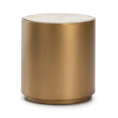 Design KNB White wood and golden metal Side Table