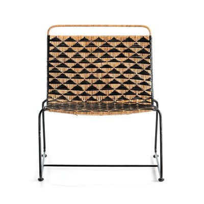 Design KNB Wicker Armchair in Natural and Black Wicker and Black Metal Legs