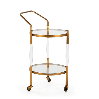 Design KNB Wine Bar Cart in Golden Metal and Glass