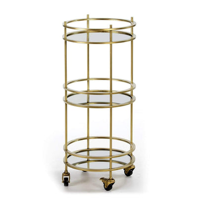 Design KNB Wine/Bar Cart in Golden Metal and Mirrors