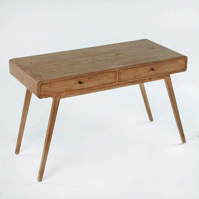 Design KNB Wooden Desk in Natural Veiled Wood with 2 Drawers