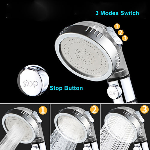 StoneStream™ 3 Mode High-Pressure Shower Head with Stop Button
