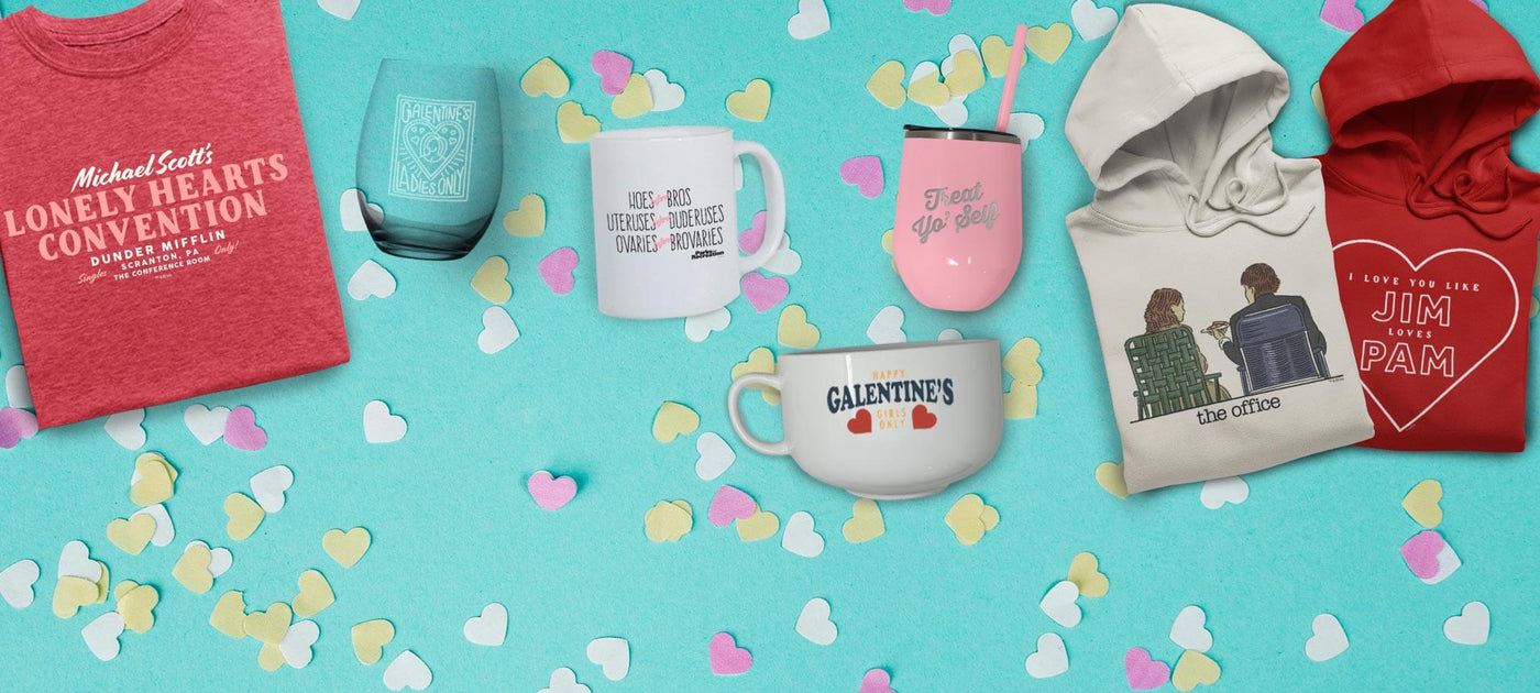 NBC Store Valentine's Day Products. The Office, Parks and Rec, Galentine's Day.