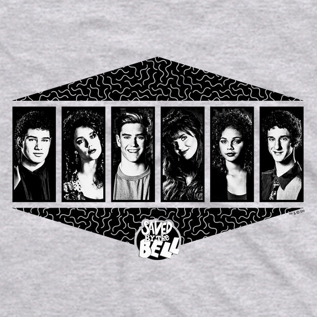 Saved By The Bell Black and White Cast Men's Short Sleeve T-Shirt