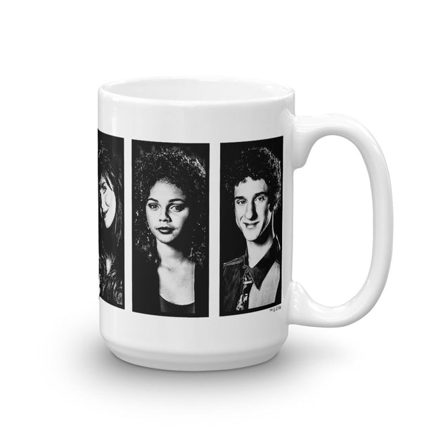 Saved By The Bell Black and White Cast White Mug