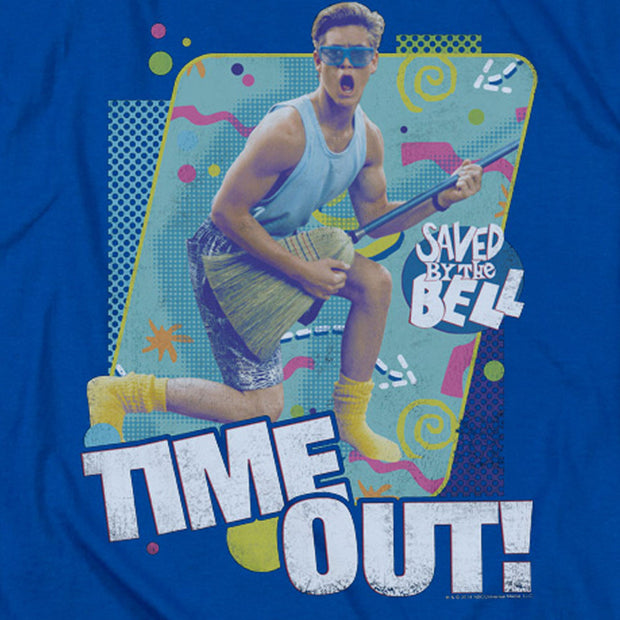 Adult Men/'s Sitcom Comedy Saved By The Bell Time Out Referee Silver T-Shirt Tee