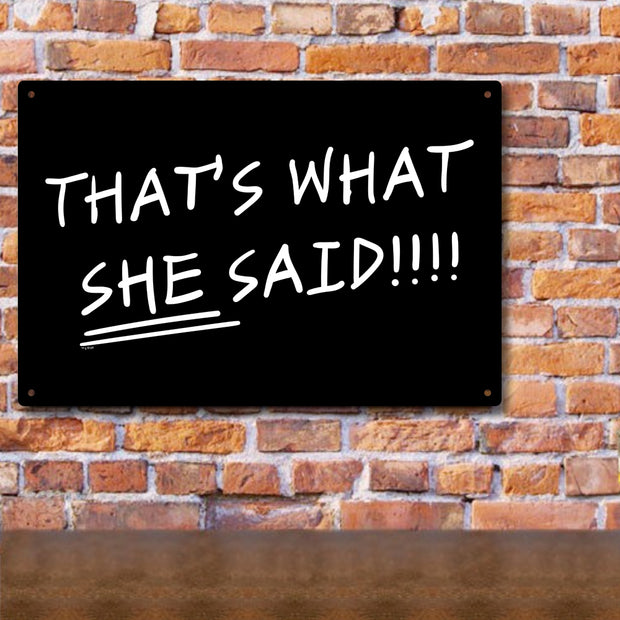 The Office That's What She Said Quote Metal Sign - 18 x 12