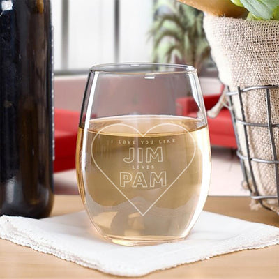 The Office Jim Loves Pam Stemless Wine Glass