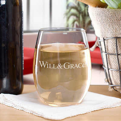 Will & Grace Logo Stemless Wine Glass