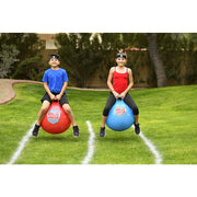 "American Ninja Warrior™ Race Hop Ball Set - Set of 2 20"" Hop Balls, Easy Air Hand Pump, 2-5' Start/Finish Lines"