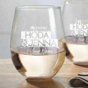 TODAY with Hoda & Jenna Personalized Laser Engraved Stemless Wine Glass - Set of 2