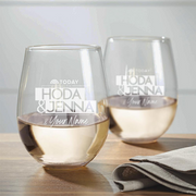 TODAY Show With Hoda & Jenna Personalized Laser Engraved Stemless Wine Glass - Set of 2