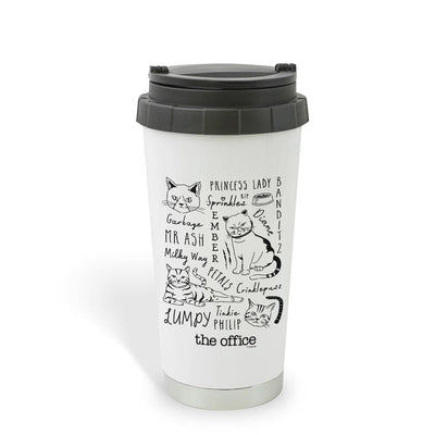 The Office Angela's Cat Mash-Up 16 oz Stainless Steel Thermal Travel Mug