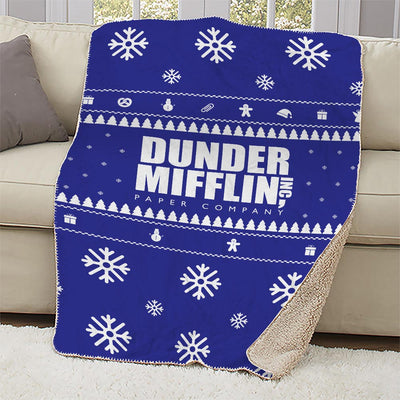 The Office Dunder Mifflin Holiday Sherpa Blanket