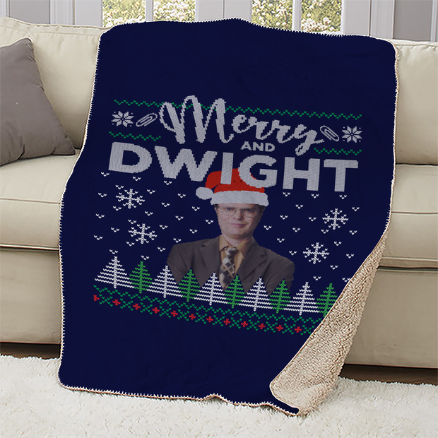 The Office Merry and Dwight Ugly Christmas Sherpa Blanket