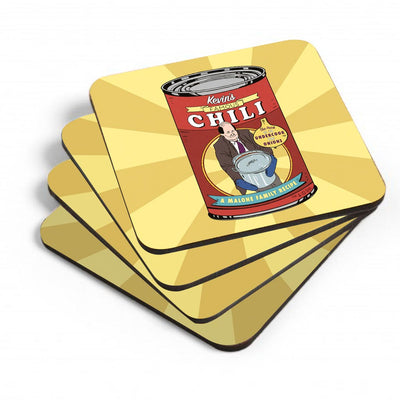 The Office Kevin's Famous Chili Coasters with Mahogany Holder - Set of 4