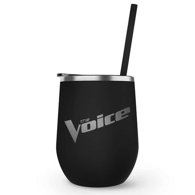 The Voice Wordmark Laser Engraved Wine Tumbler with Straw