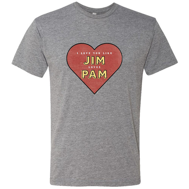 The Office Jim Loves Pam Men's Grey Tri-Blend Short Sleeve T-Shirt
