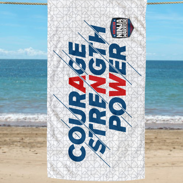 American Ninja Warrior Courage  Strength  Power Beach Towel