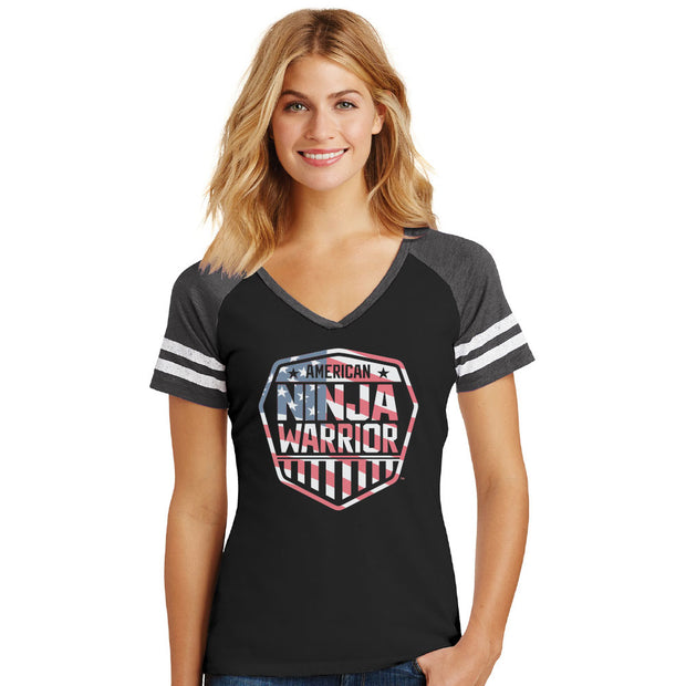 American Ninja Warrior Americana Women's V-neck T-shirt