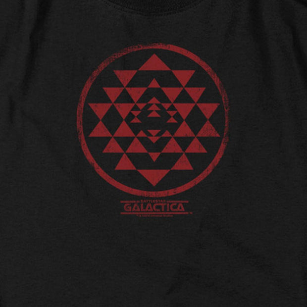 Battlestar Galactica Red Squadron Patch Black Heather Short Sleeve T-Shirt
