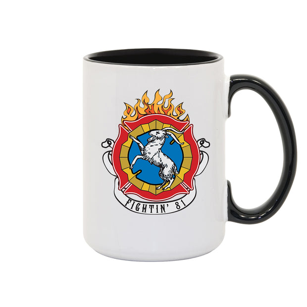 Chicago Fire Fightin' 81 Two Tone Inner/Handle Black Mug