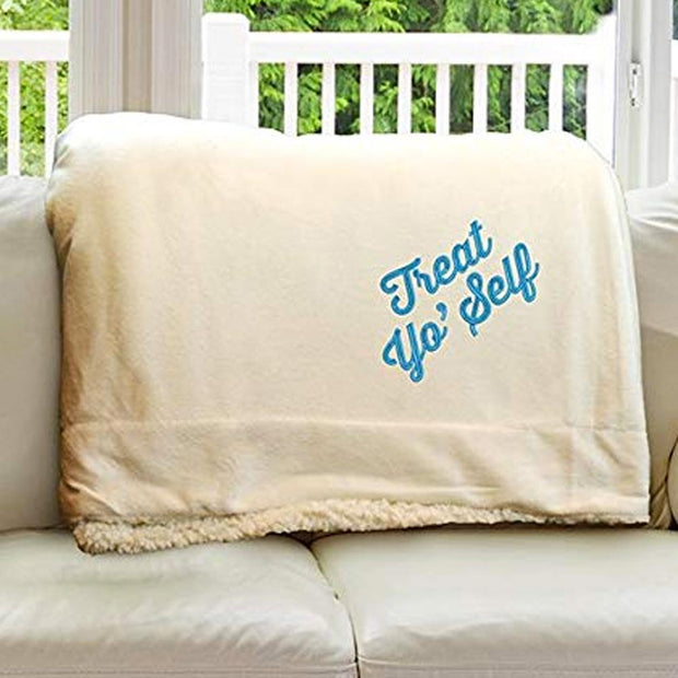 Parks and Recreation Treat Yo' Self Embroidered Sherpa Throw Blanket  - 50 x 60