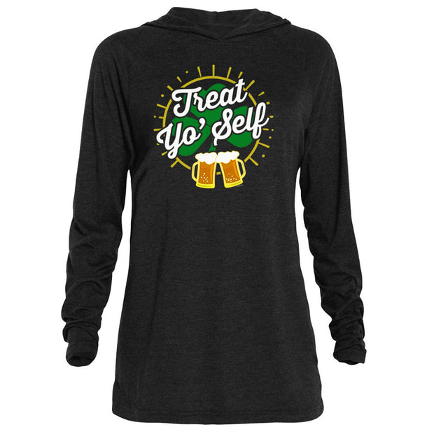 Parks and Recreation Treat Yo' Self St. Patrick's Day Tri-Blend Raglan Hoodie