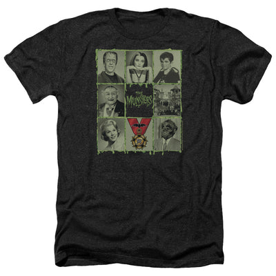 The Munsters Blocks Black Heather Short Sleeve T-Shirt