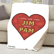 The Office Jim Loves Pam Sherpa Throw Blanket