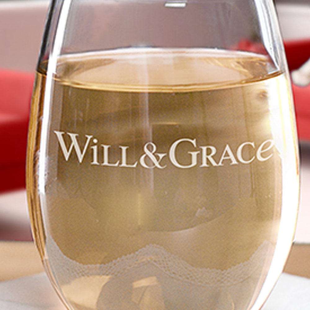 Will & Grace Logo Stemless Wine Glass-secondary-image