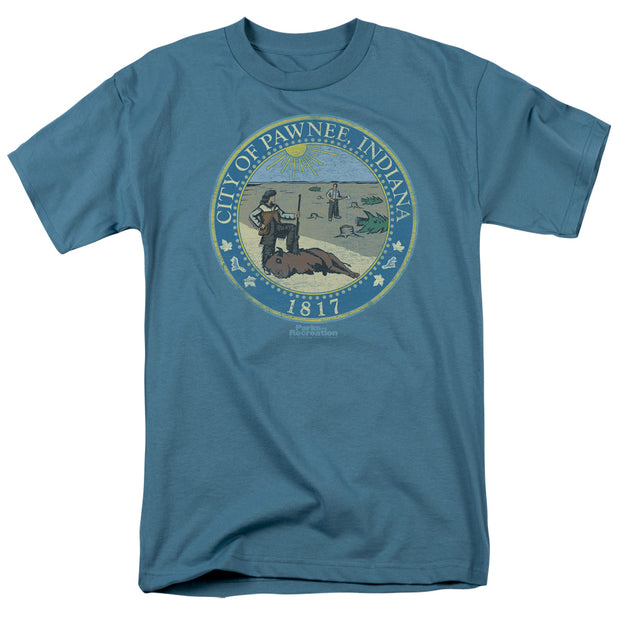 Parks and Recreation Distressed Pawnee Seal Short Sleeve T-Shirt