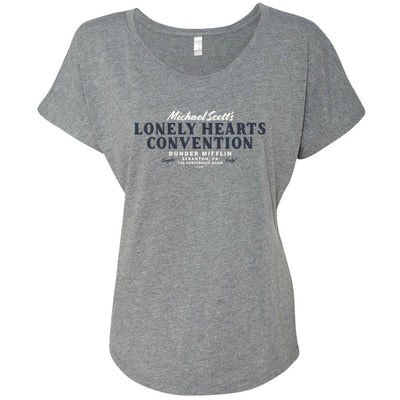 The Office Michael Scott Lonely Hearts Convention Women's Tri-Blend Dolman T-Shirt